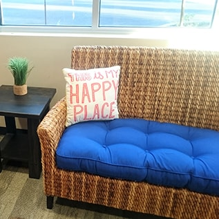 Comfortable waiting area at Smile Surfers