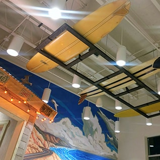Surf boards on the ceiling