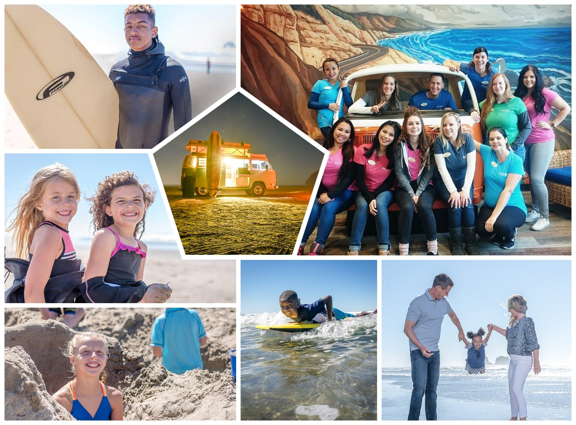 Collage of photos of Sumner dentist and his family having fun on the beach